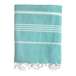 Nine Space - Stripe Fouta Towel, Aqua - Give your space a Mediterranean makeover with the addition of this thin-striped fouta. Woven from pure Turkish cotton, it adds an instant shot of color and texture wherever you place it — across the dining table, along the back of a couch or hanging in the guest bath. Use it poolside or at the beach as a sophisticated wrap or towel.