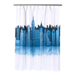 """Cityscape"" Fabric Shower Curtain - ""Cityscape"" Heavier Weight Fabric shower curtain, 100% polyester, size 70""x72"". With its beautiful depiction of the NYC skyline, our ""Cityscape"" Shower Curtain keeps Gotham close by always.Made to fit standard-sized bathtubs or showers (curtain measuring 70'' w x 72'' l), ""Cityscape""  is made with a premium quality polyester fabric, giving it added weight and durability. This curtain is both machine-washable and water repellant (no liner required).    Machine wash in warm water, tumble dry, low, light iron as needed"