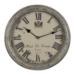 Benzara - Metal Wall Clock A Vintage Metallic Clock - METAL WALL CLOCK is an excellent anytime low priced wall decor upgrade option that is high in modern age decor fashion. This metallic clock also features a Roman inscription, Pont de lange so it is an ideal decorative item for a room that has nature or nautical theme.