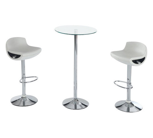 Global Furniture USA - M828BT + M207BS-WH Glass Top Table & White Leatherette Stools 3 Piece Bar Set - The M828BT + M207BS-WH bar set will enhance any decor and add a touch of today's modern design. This table features a round glass top attached to a chromed metal support. The base of the table is crafted from chromed metal. Each stool comes upholstered in a beautiful white leatherette material. The stools are height adjustable and have built-in footrest for added comfort. The bar set shown includes one table and two stools.