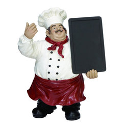 "ecWorld - Casa Cortes French Chef Figurine with Chalk Board Kitchen Decor -  20"" H - This handcrafted chef figurine is perfect for any chef-inspired, bistro-style, or French-themed kitchen. Dressed in traditional whites, he adds a dash of personality to any kitchen decor and you can write any message or menu of the day on the board."