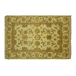 Manhattan Rugs - New Oushak Ivory Veg Dyed HandKnotted Wool 4'x6' Turkish Oriental Area Rug H5694 - Oushak rugs originated in the small town of Oushak in west central Anatolia, roughly 100 miles south of the city of Istanbul in Turkey. Oushak has produced some of the most decorative Persian influenced rugs of all times. Oushak has been a production center of Turkish rugs since the 15th century. In the late 15th century the 'design revolution' took place. Before, producing carpets was part of the nomad culture, meeting people's daily needs, but for the first time the works of designing and weaving rugs were split in two. These Turkish rugs began to be produced commercially. From the 16th up to the 18th century the most famous manufacturers of ottoman times worked in Oushak. A special heirloom wash produces the subtle color variations that give rugs their distinctive antique look.