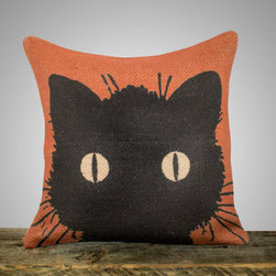 Black Cat Pillow by The Watson Shop - I love the bold graphic on this pillow. The bright orange and vintage cat image make this a great choice for any style home.