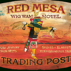 Red Horse Signs - Nostalgic Motel Signs, Large  Western Native American Sign, 18x30 - Nostalgic  Motel  Signs  -  Western  Native  American  Sign          The  nostalgic  Red  Mesa  Wig  Wam  Motel  sign  brings  back  the  dreamy  days  of  slower  travel  and  tourist  stops  along  the  way.  This  vintage  western  sign  is  perfect  for  the  guest  house,  spare  room  or  entertainment  area  of  your  home.  Perfect  for  Southwestern  decor.  Choose  from  the  14x22  or  18x30.  A  new  sign  with  all  of  the  charm  of  antique.  Text  on  sign  is  customizable.  Please  specify  old  and  new  wording  in  the  boxes  provided.  Existing  sign  text  reads,  Red  Mesa  Wig  Wam  Motel.  Indian  Fry  Bread,  Gas  Save  $.  Turquoise  Jewelry,  Snakeskin  Belts,  Smokes,  Blankets  $5.99.  Petrified  Dinosaur  Droppings.  Allow  2-3  weeks  for  delivery  of  your  custom  vintage  sign.          Product  Specifications:                  Western  Style              Size  18x30              Printed  directly  to  distressed  wood
