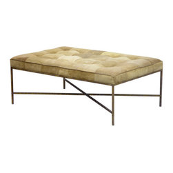 Jonathan Ottoman - This ottoman adds a soft tufted top with lovely metal legs and an X-shaped base. It's elegant yet contemporary. Use it as a coffee table or as extra seating.