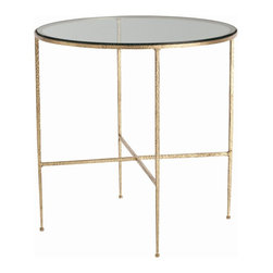 Arteriors - Winchester Side Table - With only a glass top resting on four slender legs, this side table is perfect for the minimalist who likes to keep things simple. The metal frame is heavily textured and bears the marks and divots of hammering. It's then finished in saturated gold leaf, giving you the look of a traditional, heavily ornamented design, yet with an open, modern-day form.