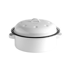 Crow Canyon Home - Stock Pot, 2.5-Quart, White and Black Rim - Stew for two, anyone? Cook sauces and smaller portions of your favorite big pot meals. The porcelain enameled steel heats the contents quickly.