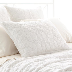 "Pine Cone Hill - PCH Marina White Quilted Pillow Sham - Contemporary textures lend eclectic style to the PCH Marina pillow sham. In soothing white, this neutral bedding accessory excites with a hand-stitched circular pattern. Tie closure; 100% cotton voile; Insert not included; Machine wash; Available in standard and european sizes; Designed by Pine Cone Hill, an Annie Selke company Standard: 26""W x 20""H; Euro: 26""W x 26""H"