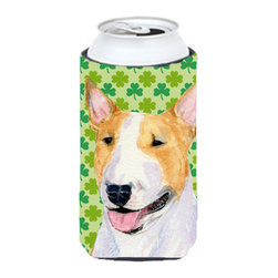Caroline's Treasures - Bull Terrier St. Patrick's Day Shamrock Portrait Tall Boy Koozie Hugger - Bull Terrier St. Patrick's Day Shamrock Portrait Tall Boy Koozie Hugger Fits 22 oz. to 24 oz. cans or pint bottles. Great collapsible koozie for Energy Drinks or large Iced Tea beverages. Great to keep track of your beverage and add a bit of flair to a gathering. Match with one of the insulated coolers or coasters for a nice gift pack. Wash the hugger in your dishwasher or clothes washer. Design will not come off.