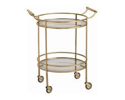 Arteriors - Wade Bar Cart, Antique Brass - Give your room a shimmer of retro class with this round, transitional bar cart. The clean and classic design is accented with graceful touches like curved handles and mirrored shelves with antiqued borders. You can perch it against a quiet wall of the living or dining room and adorn it with flowers and glasses, or keep it in an out-of-the-way nook and roll it out to serve guests.