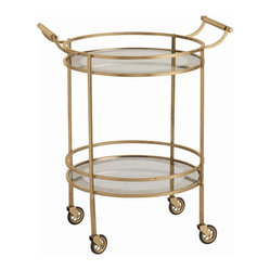 Arteriors - Wade Bar Cart, Brass - Give your room a shimmer of retro class with this round, transitional bar cart. The clean and classic design is accented with graceful touches like curved handles and mirrored shelves with antiqued borders. You can perch it against a quiet wall of the living or dining room and adorn it with flowers and glasses, or keep it in an out-of-the-way nook and roll it out to serve guests.