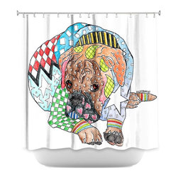 DiaNoche Designs - Shower Curtain Artistic - Boxer Dog - DiaNoche Designs works with artists from around the world to bring unique, artistic products to decorate all aspects of your home.  Our designer Shower Curtains will be the talk of every guest to visit your bathroom!  Our Shower Curtains have Sewn reinforced holes for curtain rings, Shower Curtain Rings Not Included.  Dye Sublimation printing adheres the ink to the material for long life and durability. Machine Wash upon arrival for maximum softness. Made in USA.  Shower Curtain Rings Not Included.