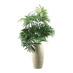 "D&W Silks - Artificial Parlor Palm in Ceramic Vase - It's amazing how much adding a plant can change the look of a room or decor, but it can be difficult if your space is not conducive to growing plants, or if you weren't exactly born with a ""green thumb."" Invite the beauty of nature into your home without all the upkeep with this maintenance-free, allergy-free arrangement of an artificial parlor palm in a ceramic vase. This is not a living plant."