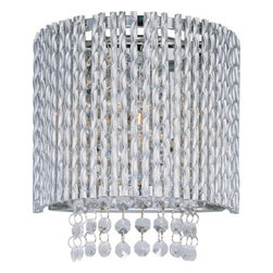 ET2 lighting - ET2 Lighting E23130-10PC Spiral 1-Light Wall Mount in Polished Chrome - The Spiral Collection's twisted metal tubing sparkles like diamonds in the sun. Strands of high quality K9 crystal beads add to the impact making this fixture look as brilliant on as it does off.