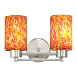 Design Classics Lighting - Modern Bathroom Light with Art Glass in Satin Nickel Finish - 702-09 GL1012C - Contemporary / modern satin nickel 2-light bathroom light. Takes (2) 100-watt incandescent A19 bulb(s). Bulb(s) sold separately. UL listed. Damp location rated.