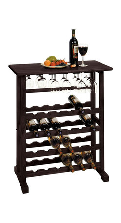 Winsome - Winsome Vinny Wine Rack and Glass Holder in Dark Espresso - Winsome - Wine Racks - 92023 -   With space for 24 bottles and stemware this wine rack is ideal for use when entertaining. Its polished design is attractive yet discrete.