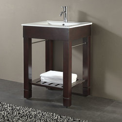 """24"""" Loft Vanity - This beautiful console style vanity is perfect for smaller bathrooms without giving up style. The 24"""" Loft Vanity has a gorgeous Dark Walnut finish and includes a porcelain top with a built-in sink."""