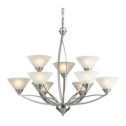 Elk Lighting - Elk Lighting-7638/6+3-Elysburg - Nine Light Chandelier - The geometric lines of this collection offer harmonious symmetry with a sophisticated contemporary appeal.  A perfect complement for kitchens, billiard parlors, or any area that requires direct lighting.  Featured in Satin Nickel with white marbleized glass or Aged Bronze finish with tea stained brown swirl glass.