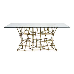 "Worlds away - Molecule Dining Table 72"" - Gold Leaf Iron Dining Table With Rectangular 72 X 42 Glass Top"