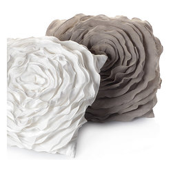 Glamorous Natural Floret Pillow - I love the look and feel of this pillow; it's the kind I would want to come home to and cuddle with. They look so whimsical and romantic, I'd definitely have to go with both the white and gray.
