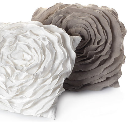 Contemporary Pillows Glamorous Natural Floret Pillow