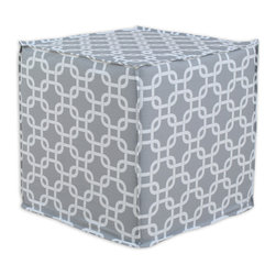 """Chooty - Chooty Gotcha Storm Collection 17"""" Square Seamed Foam Ottoman - Insert 100 High Density Foam, Fabric Content 100 Cotton, Color Grey, White, Hassock 1"""