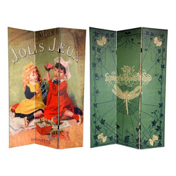 Oriental Furniture - 6 ft. Tall Double Sided Children's Stories Canvas Room Divider - Presenting two lovely photographic reproductions of vintage storybook artwork. On the front is the cover of a French children's book from the turn of the century, Mes Jolis Jeux, featuring two delighted young girls. The back is from The Story Without End (1947), penned by prolific British dramatist Hugh Ross Williamson. These lovely period renderings of vintage graphic art add compelling interior design elements to any living room, bedroom, dining room, or kitchen. This three panel screen has different images on each side, as shown.