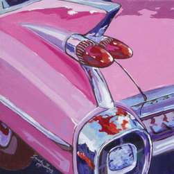 Pink Cadillac (Original) by Sandy Tracey - This piece is from my Route 66 Series of acrylic paintings. I love to paint closeups of vintage cars that have unusual embellishments. Fun stuff!