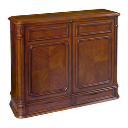 Crystal Pointe 360 Swivel TV Lift Cabinet - Finished on all four sides, there's no mistaking the Crystal Pointe 360 Swivel TV lift cabinet's classic design heritage with its intricately carved corner pillars, balanced proportions and finely crafted Mahogany veneer, plus a 360 degree electric swivel. TV not included.