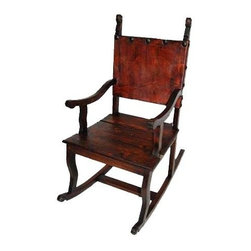Million Dollar Rustic - Yucatan Rocker in Espresso Finish - Treated pigskin back. Warranty: One year. Made from white pine. 22 in. W x 45 in. D x 49 in. H (30 lbs.)