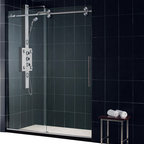 DreamLine - DreamLine SHDR-60607912-07 Enigma 56 to 60in Fully Frameless Sliding Shower Door - The Enigma is stunning with sophisticated frameless design that rivals custom glass for an exceptional value. Crafted from top of the line materials like striking stainless steel hardware and superior  thick tempered glass. The impressive glass is treated with DreamLines exclusive Clear Glass protective coating for superior protection and easy maintenance. The Enigma collection offers a world-class shower door that becomes the centerpiece of any bathroom design. 56 - 60 in. W x 79 in. H ,  Superior 1/2 (12 mm) thick clear tempered glass,  Brushed or polished stainless steel hardware finish,  Fully frameless glass design,  Width installation adjustability: 56 - 60 in.,  Out-of-plumb installation adjustability: No,  Advanced fully frameless glass design,  Effortless sliding operation with large wheel assemblies on a stainless steel track,  DreamLine exclusive Clear Glass protective anti-limescale coating, Stainless Steel