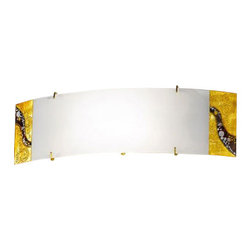 """Kolarz - Top quality from Vienna - Kolarz - Top quality from Vienna Kiss 61D wall lamp - Kiss 61D wall lamp is part of the Kiss collection inspired by the world famous painting """"The Kiss"""" by Gustav Klimt. The Kiss was painted between 1908 - 1909 at the highpoint of his """"Golden Period"""", when he painted a number of works in a similar gilded style. This light series is designed by artistique minds using the finest materials, metal and glass, beeing a unique creation and fashioned to reflect individual personality and lifestyle. Kiss lamp consists of a glass in curved rectangular shape on a base in 24k gold plated mounted on the wall. The glass is ending with two pieces decorated with an intricate and colourful pattern. Kiss wall lamp is available with a dimmer included. Combining its distinctive design with the highest quality of its materials the wall light is a luxury path for both commercial and residential interiors. Illumination is provided by R7s 118mm, 120W Halogen bulb (not included).      Product Details: Kiss 61D wall lamp is part of the Kiss collection inspired by the world famous painting """"The Kiss"""" by Gustav Klimt. The Kiss was painted between 1908 - 1909 at the highpoint of his """"Golden Period"""", when he painted a number of works in a similar gilded style. This light series is designed by artistique minds using the finest materials, metal and glass, beeing a unique creation and fashioned to reflect individual personality and lifestyle. Kiss lamp consists of a glass in curved rectangular shape on a base in 24k gold plated mounted on the wall. The glass  is ending with two pieces decorated with an intricate and colourful pattern. Kiss wall lamp is available with  a dimmer  included. Combining its distinctive design with the highest quality of its materials the wall light is a luxury path for both commercial and residential interiors. Illumination is provided by R7s 118mm, 120W Halogen   bulb (not included). Details:                         Manufacturer:      """