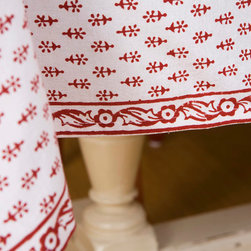 Red  and White Table Cloth - Classic Crimson table cover for casual dining, a holiday meal, or an elegant dinner. Hand Block Printed from Attiser