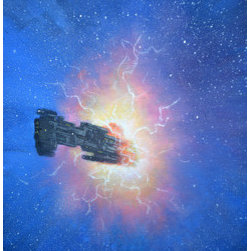 Jump Gate Study (Original) by Armand Cabrera - A spaceship coming out of hyperspace.  One of Armand Cabrera's Imaginative Realism paintings.