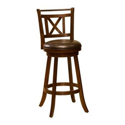Hillsdale Glenmont 29 in. Swivel Bar Stool - Cherry - Dress up your home bar with the Hillsdale 29-in. Glenmont Swivel Bar Stool - Cherry. This handsome bar stool has a smooth swivel seat and comfortable footrest ring. The cushioned seat is covered in easy-to-care-for brown faux leather and this armless stool is made of hardwoods with a rich cherry finish. It has flared legs an elaborate X design on the back and a decorative bar of twisted bronze. At 29 inches high the seat is at just the right height for most bars and kitchen counters. The overall dimensions of this bar stool are 17.5W x 19D x 43.25H inches. Add comfort and style to your home bar with the Glenmont Swivel Bar Stool. Please note: This item is not intended for commercial use. Warranty applies to residential use only. About Hillsdale FurnitureLocated in Louisville Ky. Hillsdale Furniture is a leader in top-quality affordable bedroom furniture. Since 1994 Hillsdale has combined the talents of nationally recognized designers and globally accredited factories to bring you furniture style and design from around the globe. Hillsdale combines the best in finishes materials and designs to bring both beauty and value with every piece. The combination of top-quality metal wood stone and leather has given Hillsdale the reputation for leading-edge style and concepts.