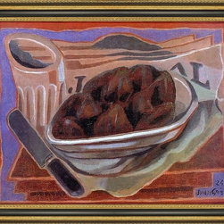 """Art MegaMart - Juan Gris Figs - 18"""" x 24"""" Framed Premium Canvas Print - 18"""" x 24"""" Juan Gris Figs framed premium canvas print reproduced to meet museum quality standards. Our Museum quality canvas prints are produced using high-precision print technology for a more accurate reproduction printed on high quality canvas with fade-resistant, archival inks. Our progressive business model allows us to offer works of art to you at the best wholesale pricing, significantly less than art gallery prices, affordable to all. This artwork is hand stretched onto wooden stretcher bars, then mounted into our 3 3/4"""" wide gold finish frame with black panel by one of our expert framers. Our framed canvas print comes with hardware, ready to hang on your wall.  We present a comprehensive collection of exceptional canvas art reproductions by Juan Gris."""