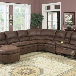 AC Pacific - Nicole Reclining Corner Sectional - This 6 piece reclining sectional consist of one right arm facing reclining chair, one storage console, one armless reclining chair, one wedge, one armless loveseat. Also, one left arm facing push back chaise. Can only be assembled as shown. Made of bonded leather. Chaise: 61 in. L x 37 in. W x 37 in. H. Armless Loveseat: 48 in. L x 37 in. W x 37 in. H. Wedge: 69 in. L x 37 in. W x 37 in. H. Armless Reclining Chair: 25 in. L x 37 in. W x 37 in. H. One Arm Reclining Chair: 33 in. L x 37 in. W x 37 in. H. Console: 14 in. L x 37 in. W x 37 in. H . Color/Finish: Brown
