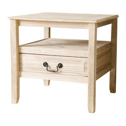 Great Deal Furniture - Noah Wood Short Drawer End Table, Off-White - With the Noah acacia wood end table, you get the beauty of a smooth finish with the strength of true acacia wood. Perfect as a side table or as a display piece in your living room, bedroom or any other room.