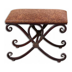 "Uttermost - Manoj Distressed Small Bench - Dark, coffee brown metalwork with mahogany undertones and a padded seat covered in distressed, saddle brown fabric. Dimensions: 23.5""W X 15.75""D X 16.5""H; Seat Color: Brown; Finish: Brown; Assembly: Light Assembly Required; UL Approved"