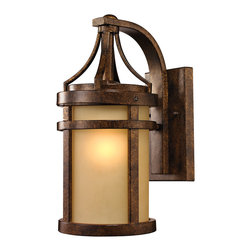 Elk Lighting - Elk Lighting Winona Collection 1 Light Outdoor Sconce In Hazelnut Bronze - 45096 - 1 Light Outdoor Sconce In Hazelnut Bronze - 45096/1 in the Winona collection by Elk Lighting The Winona collection's warm, charming elements of amber glass and a Hazelnut Bronze finish is a welcomed addition to an array of exterior facades. The cylindrical design of the glass and metal accouterments garners attention from every vantage point.  Outdoor Wall Sconce (1)