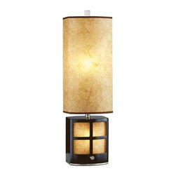 Nova - Ventana Accent Table Lamp - 6 foot cord. 15W night light bulb included. Elegant, unique table lamp. Modern, contemporary, dark brown, brushed nickel. Warm, high quality fabric shade. Functional and stylish. Nightlight feature. Shade Material: Elephantine Parchment. Shade Dimensions: 8 x 9 - 8 x 9 x 17V. Switch Type: 4-way switch. 1 Year Limited Manufacturer Warranty. 8.5 in. W x 26 in. H, 4.84 lbs