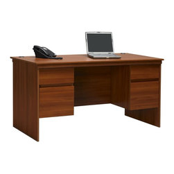Ameriwood - Executive Desk and 4 Drawers - Two boxed drawers. MDF Wood. Has two file drawers that accept letter sized hanging files. 2 Grommets for easy cable management. Easy to assemble with household tools. 1 year limited manufacturer's warranty. 59-1/16 in. W x 29-1/2 in. D x 30-5/16 in. H