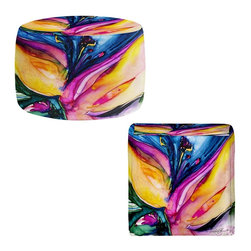 DiaNoche Designs - Ottoman Foot Stool - Soul Flower 36 - Lightweight, artistic, bean bag style Ottomans. You now have a unique place to rest your legs or tush after a long day, on this firm, artistic furtniture!  Artist print on all sides. Dye Sublimation printing adheres the ink to the material for long life and durability.  Machine Washable on cold.  Product may vary slightly from image.