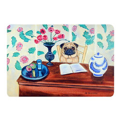 Caroline's Treasures - Pug Kitchen Or Bath Mat 24X36 - Kitchen or Bath COMFORT FLOOR MAT This mat is 24 inch by 36 inch.  Comfort Mat / Carpet / Rug that is Made and Printed in the USA. A foam cushion is attached to the bottom of the mat for comfort when standing. The mat has been permenantly dyed for moderate traffic. Durable and fade resistant. The back of the mat is rubber backed to keep the mat from slipping on a smooth floor. Use pressure and water from garden hose or power washer to clean the mat.  Vacuuming only with the hard wood floor setting, as to not pull up the knap of the felt.   Avoid soap or cleaner that produces suds when cleaning.  It will be difficult to get the suds out of the mat.