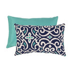 Pillow Perfect - Pillow Perfect Blue and White Damask Rectangular Throw Pillow - 475134 - Shop for Pillows from Hayneedle.com! Vibrant blues in a contemporary damask pattern make the Blue/White Damask Rectangular Throw Pillow a stylish choice for your space. This rectangular pillow features a polyester shell with the white blue and aqua damask on one side and solid aqua on the reverse. It's filled with polyester fiber for plush comfort. The image shown indicates both front and back of pillow. About Pillow PerfectPillow Perfect was founded by Paul and David Ratner two brothers with a passion for comfortable design stylish functionality and a commitment to pleasing their customers. With over 25 years in the business the founders of Pillow Perfect operate just North of Atlanta Georgia and have been producing products that add style and color to home and patios across the US. Keeping up with styles trends consumer needs and quality assurance makes them a major player in the industry. Their manufacturing facility brings all their ideas together and makes them a reality for customers all over the country and through drop-ship online retailers all over the world.