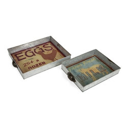 "IMAX CORPORATION - Farmer Galvanized Glass Trays - Set of 2 - This set of two galvanized metal trays are inspired by vintage style grocery signs and feature a glass insert.  Set of 2 trays measuring 2""H x 9""W x 12.8""L and 2""H x 11""W x 15""L each. Find home furnishings, decor, and accessories from Posh Urban Furnishings. Beautiful, stylish furniture and decor that will brighten your home instantly. Shop modern, traditional, vintage, and world designs."