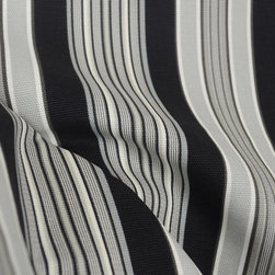 Life - Waverly Get Away Stripe Blackbird Upholstery Fabric By The Yard - Black, grey and white striped fabric from Waverly. This pattern is called Get Away Stripe in color Blackbird. This 100% cotton fabric is great for drapery panels, pillows, bedding, window valances or use as a light upholstery fabric.
