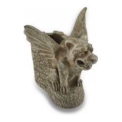 Zeckos - Protector of Writing Instruments Gothic Cement Gargoyle Pen/Pencil Hol - This gargoyle sits in protection to watch over your pens, pencils and markers This 5.5 inch high, 5.5 inch long, 4.5 inch wide (14 X 14 X 11 cm) Gothic sentinel pen holder is cast in cement featuring a weathered finish and castle like details perfect for any tabletop, shelf or desk whether in the home or at the office. This gargoyle holder would gladly accept your spare change, hold your keys in the entryway, or fill it with candy for a one of a kind gift any gargoyle collector is sure to admire