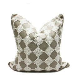 Blackband Design - Gray and White Floral Embroidered Pillow - Custom pillow by Blackband Design.