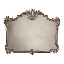 "Inviting Home - Antiqued Tuscan Style Mirror - 18th century Tuscan style carved wood mirror with leaf and scroll motif antique silver leaf finish and antiqued mirror; 50"" x 38-3/4""H; hand-crafted in Italy ; 18th century Tuscan style carved wood mirror with leaf and scroll motif antique silver leaf finish and antiqued mirror 50"" wide x 38-3/4"" wide hand-crafted in Italy This horizontal wall mirror is hand-crafted in 18th century Tuscan style. Wall mirror has a carved wood frame with floral and leaf scrolls in antiqued hand applied silver metal leaf finish as well as antiqued glass mirror. This Tuscan style mirror is hand-crafted in Italy."